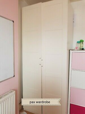 cheap for discount 278be 27dd8 IKEA PAX DOUBLE Wardrobe with Bergsbo Doors in WHITE