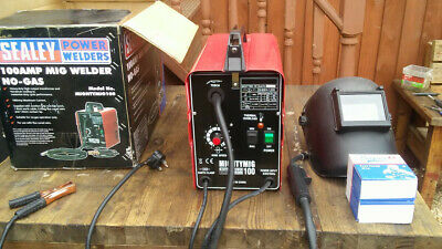 Sealey MIGHTYMIG100 No Gas MIG Welder 100 Amp 230v with mask and x2 new wire