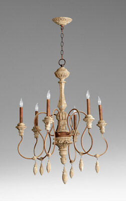 Tuscan Style Chandelier 6 Light Wrought Iron & Wood