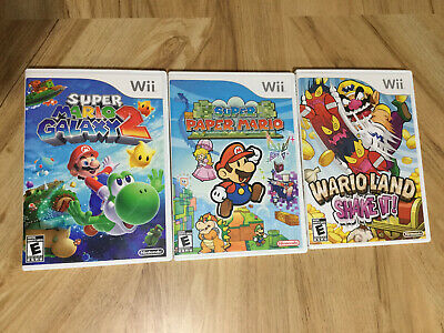 Lot of 3 Mario Wii Games -Mario Galaxy 2, Super Paper Mario, Wario Land Shake It