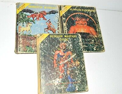 Dungeons & Dragons VTG Book Lot AD&D Player Handbook Monster Manual DM Guide TSR