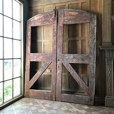 LARGE Antique Barn Doors, Pair Of Wooden Sliding Barn Doors, Rustic Wood Gates