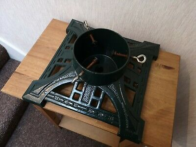 Heavy Vintage Green Cast Metal Square Real Christmas Tree Holder Stand VGC