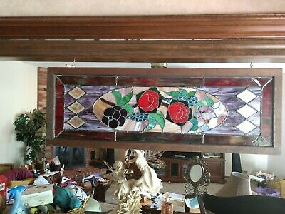 Gorgeous Victorian Era  Antique Stained Glass Transom, Roses, Flowers. Perfect