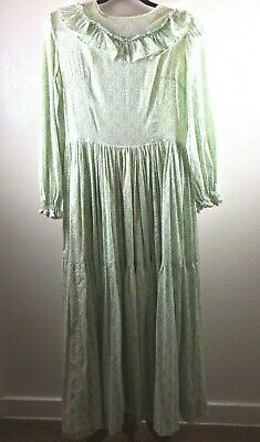 Vtg Prairie Dress Maxi Womens Medium Boho Authentic Handmade Cotton Calico