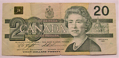 1 1991 20 DOLLAR BANK OF CANADA BANKNOTE AWK7936323 F+ TO VF - combined ship