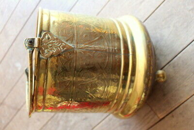 Hanging Solid Handmade Vintage Antique Large French Brass Jam Pot with Cast iron