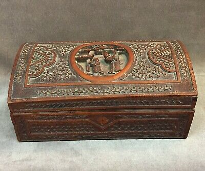 Chinese Carved Sandalwood Writing Box with Fitted Insert / Casket