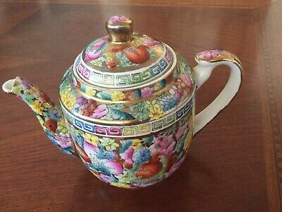 Antique Chinese Famille Rose Medallion Canton Teapot