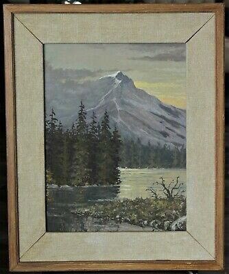 Original Framed Canadian Mountain Lake Landscape Painting