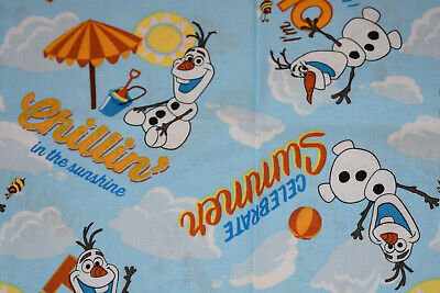 DISNEY FROZEN OLAF IN THE SUNSHINE SNOWMAN SPRINGS CREATIVE Cotton Fabric FQ
