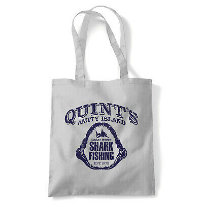 Quints Fishing Shark Jaws, Tote - Movie Inspired Reusable Shopping Canvas Bag