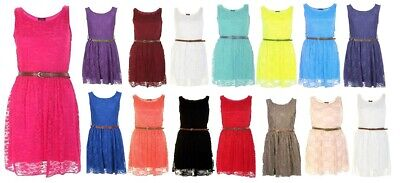 Womens GIrls Lined Sleeveless Belted Lace Skater Shift Flare Dress Size UK 8-14