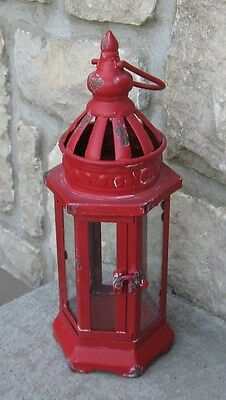 Farmhouse RED Metal/Glass LANTERN Candle Holder*Primitive/French Country Decor