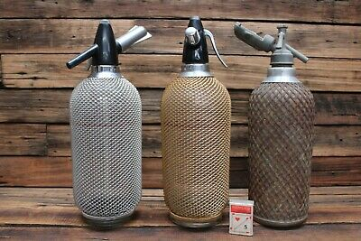3 Vintage Retro Mesh Soda Syphon Bar Ware Gold Silver Glass Bottle