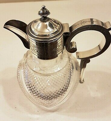 Antique Victorian Era 1899 Cut Glass Claret Jug with Sterling Silver Fittings