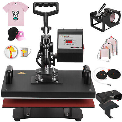 "8 in 1 Heat Press Machine T-Shirt Transfer 12""x15"" Digital Sublimation Combo Kit"