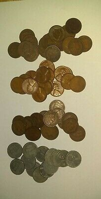 4 Old Indian Head and Wheat Pennies, 1800s, 1900s, WWII, FREE SHIPPING!