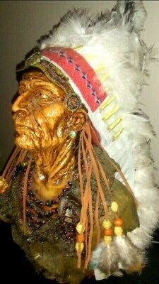 """Native American Indian Head Piece Figurine Sculpture With Real Feathers 13"""""""