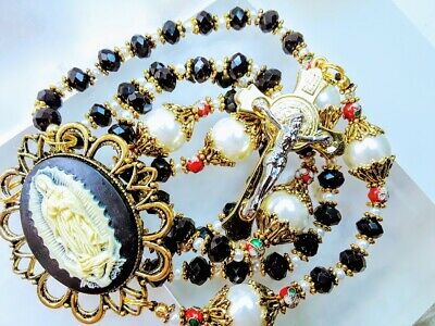 Beautiful Vatican Style Guadeloupe Cameo Black Crystal White Pearl Rosary
