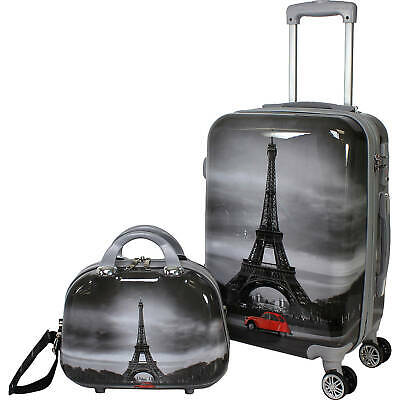 2-Piece Hardside Carry On Spinner Luggage Set Suitcase Tote Bag Travel TSA Lock