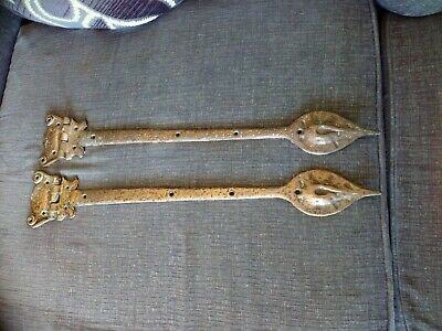 Pair of large antique brass hinges. Heavy Brass 24 inches long.