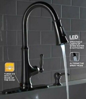GLACIER BAY TOUCHLESS LED Kitchen Faucet w Soap Dispenser ...