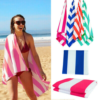 Beach Towel Striped Extra Large Microfibre Lightweight - Quick Dry- Travel Towel