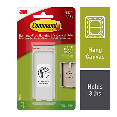 3M Command Large Canvas Hanger White And 2 Strips, Acrylic New Tape Self Black!
