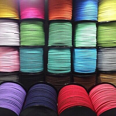 3mm 5 Yards Macrame Braided Faux Suede Cord Leather Lace Flat Thread String Rope