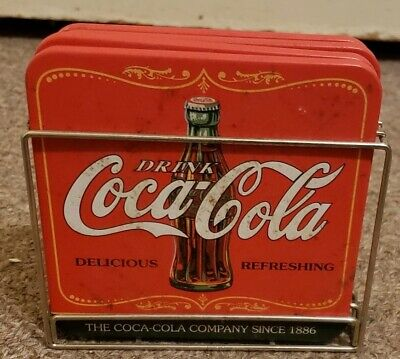 Coca-Cola Coasters Set of 4 (Vintage) (With Holder)