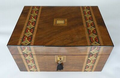 Large Antique Walnut & Parquetry banded Jewellery Box