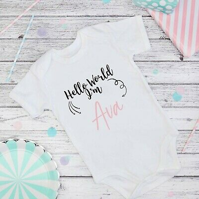 Personalised baby grow vest boys girls name funny bodysuit baby shower gift