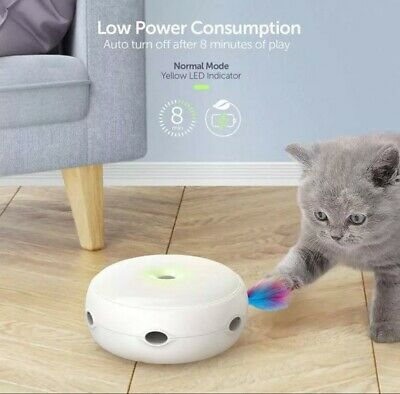 Electronic Pet Cat kittenToy Interactive  Rotating Automatic Toy Gift feather
