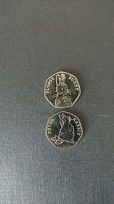 2 Beatrix Potter 2018 50p Coins 1xPeter Rabbit eating radishes & 1x Flopsy Bunny