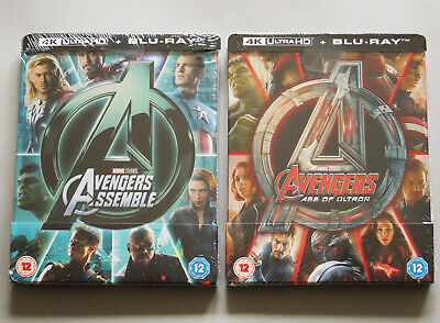 AVENGERS ASSEMBLE + AGE OF ULTRON - 2x UK ZAVVI 4K ULTRA HD + BLU-RAY STEELBOOK