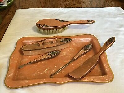 Vintage Art Deco Celluloid Vanity Dresser Set Tray Brush And Nail Buffer Plus