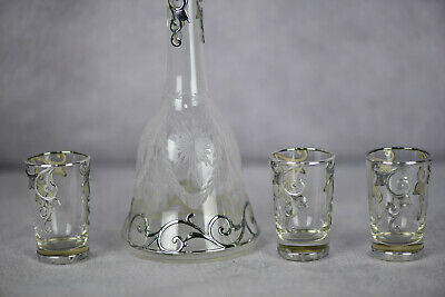 Art Nouveau STERLING SILVER OVERLAY Decanter & 3 Glasses (AS1601)