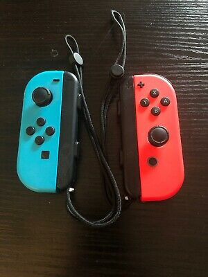 Official Nintendo Switch Left & Right Joy Con Controllers Neon Red Blue W/Straps