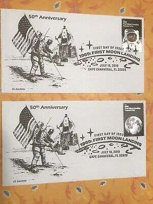 2019 50th Anniversary Moon Landing FDC Set Of 2 CL Cachet