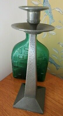 "Antique Arts & Crafts Pewter Candlestick Craftsman Sheffield Large 12"" (30cm)"