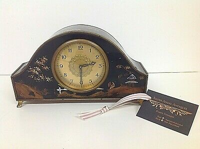 SUPERB ART-DECO LACQUERED CHINOISERIE MANTLE CLOCK CIRCA 1930's