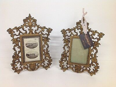Antique / Vintage pair of gilt metal ornate Rococo style picture / photo frames