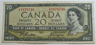 1 1954 20 DOLLAR BANK OF CANADA BANKNOTE  L/E1878748 - combined ship