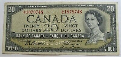 1 1991 20 DOLLAR BANK OF CANADA BANKNOTE L/E1878748  F+ - combined ship