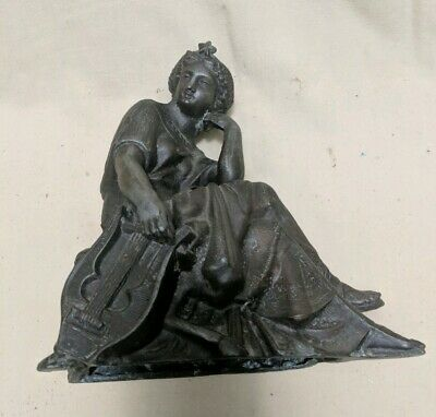 Antique Gilt Spelter French Figural Clock Topper Statue Woman Lady w/ Lyre Harp