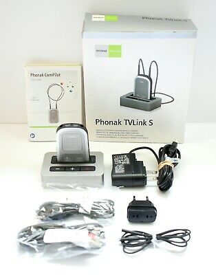 Phonak Compilot Wireless Bluetooth Hearing Aid Control  + TV Link S Base Station