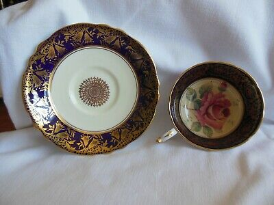 Vintage PARAGON BY APPOINTMENT BLACK GOLD W/ ROSE PATT.England Tea Cup & Saucer