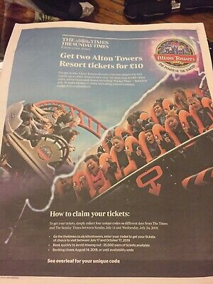The Times 2 Alton Towers Resorts tickets for £10