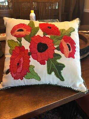Antique 20's ARTS&CRAFTS Mission Pillow Embroidered Linen